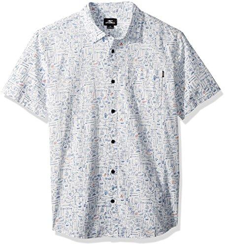 - O'Neill Men's Casual Standard Fit Short Sleeve Woven Button Down Shirt, Growler White, S