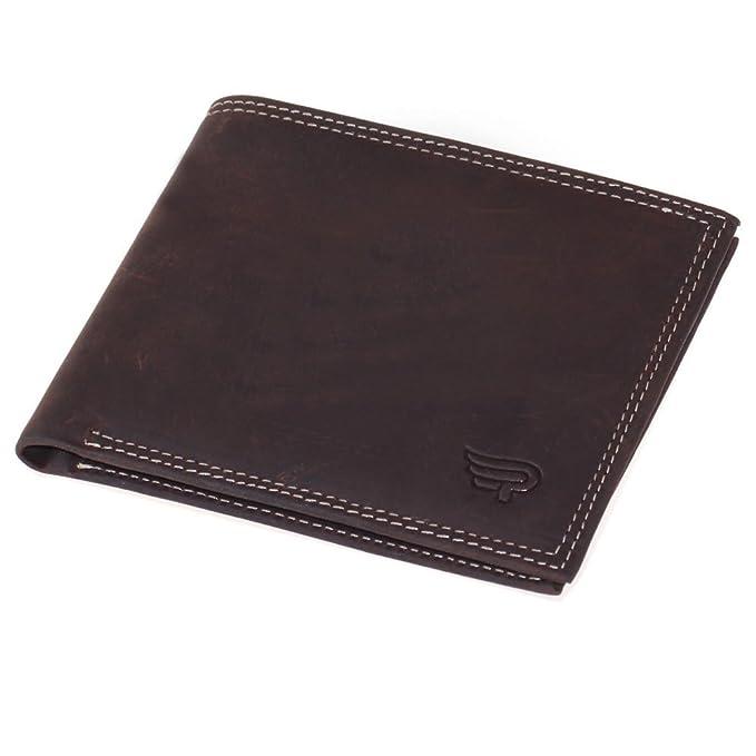 02f68d7c66 PAZARO Mens Wallet Full Grain Leather Wallets Credit Card Holder Bifold  Brown