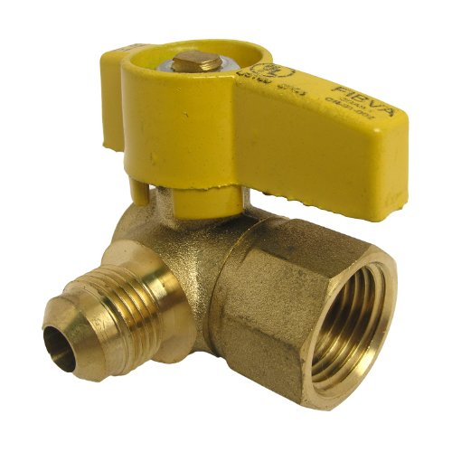LASCO 10-1615 Angle Gas Ball Valve with 3/8-Inch Flare and 1/2-Inch Female Pipe Inlet, (Gas Inlet)