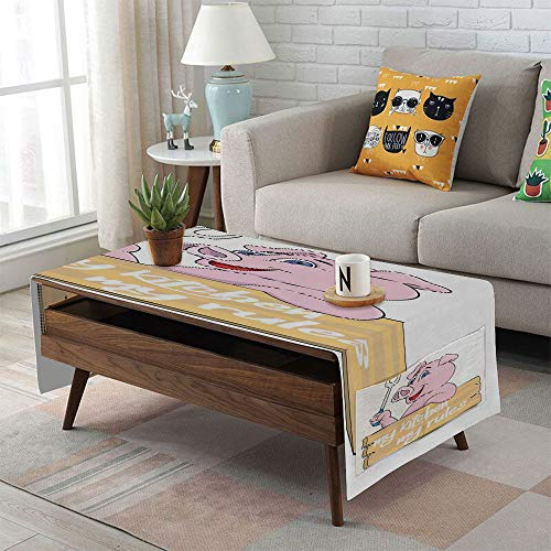 Linen Blend Tablecloth,Side pocket design,Rectangular Coffee Table Pad,Kitchen Decor,Pig Chef Holding BBQ Barbeque Fork Tongs Fast Food Mascot Character Grill Wood Menu,Pink White,for Home Decor -