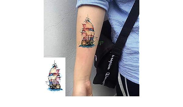 8pcs Impermeable Etiqueta engomada del Tatuaje de Barcos en Mar ...