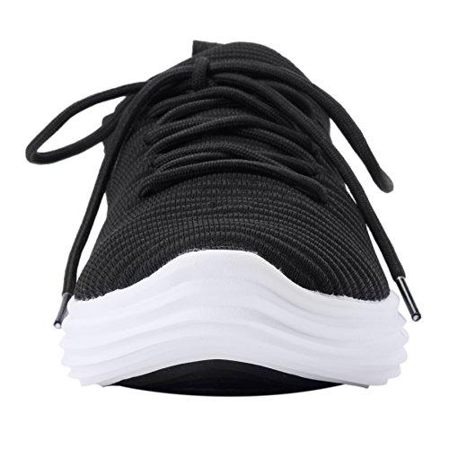 Ujoowalk Hommes Léger Tricoté Marchant Courir Chaussures De Sport Sneakers Noir