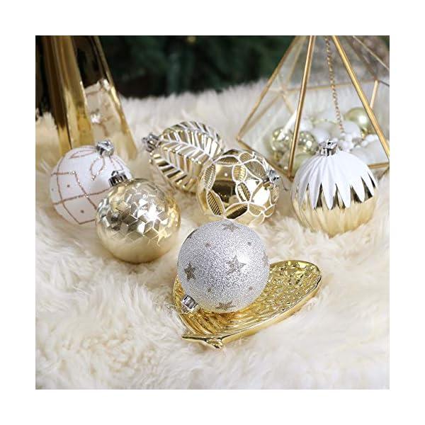 Valery Madelyn Palle di Natale 16 Pezzi 8cm Palline di Natale, Eleganti Ornamenti di Palle di Natale Infrangibili in Oro e Bianco per la Decorazione Dell'Albero di Natale 5 spesavip