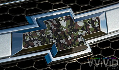 """- VVIVID Digital Camouflage Pattern Auto Emblem Vinyl Wrap Overlay Cut-Your-Own Decal for Chevy Bowtie Grill, Rear Logo DIY Easy to Install 11.80"""" x 4"""" Sheets (x2)"""