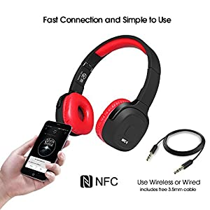 On-Ear Headphones Super Deep Bass Lightweight Wireless Bluetooth Headsets 3-Day Continuously Music Playing Time with Mic Audio and Wired Mode Noise Isolation Folding Gaming for Phone PC - Red