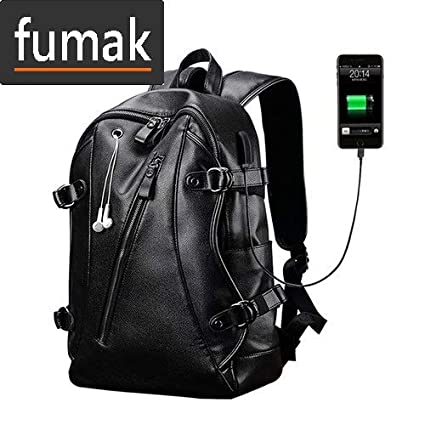 f441e4a4ce Amazon.com: Laptop Backpack - Backpack Leather Men Laptop Travel Backpack  15inch Waterproof Laptop Backpack USB College Bookbag Men Mochila Hombre  (4): ...