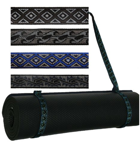 Embroidered Yoga Pilates Mat Sling Strap - Warrior