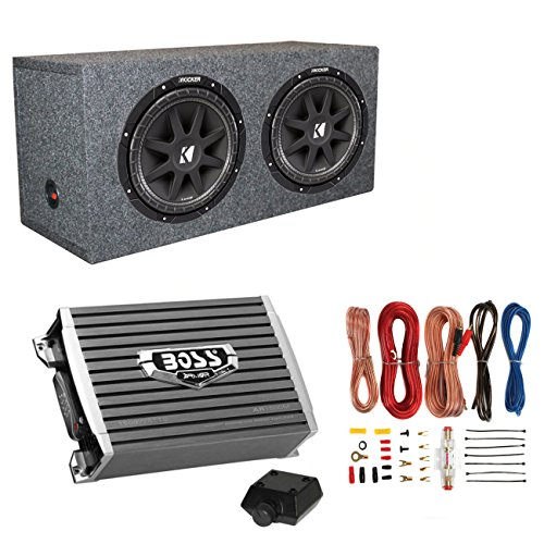 Kicker 10C124 1000W 12-Inch Subwoofers with Sealed Box Enclosure with Amp with Wiring (Pair)