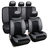 Leader Accessories Universal Full Set of Car Seat Covers PU Leather Auto Seat Cover Grey (Front & Rear Seat Covers)
