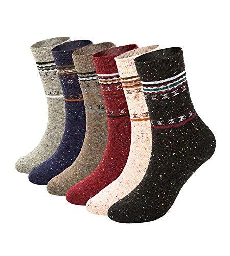 6 Pack Womens Winter Warm Socks Soft Casual Thick Wool Crew Socks (mix_fashion pattern wool socks(6 ()