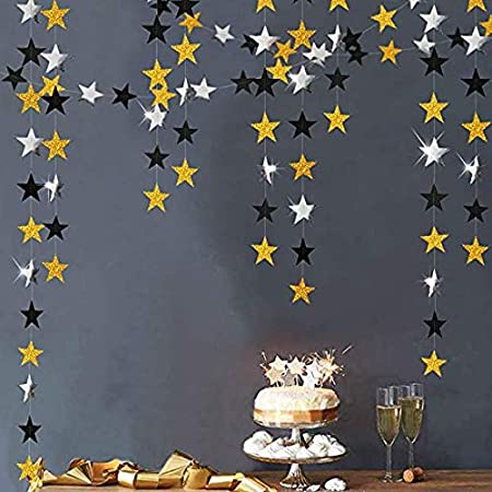 Gold 65Ft//20 Meters Star Paper Garland Bunting Banner Party Birthday Hanging Decoration Baby Shower Decor
