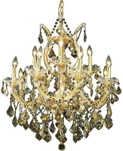 Elegant Lighting 2800D27G-GT RC Royal Cut Smoky Golden Teak Crystal Maria Theresa 13-Light, Two-Tier Crystal Chandelier, 27 x 26 , Gold Finish