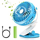 Portable Pedestal Fan,Citus Battery Operated Desk Clip-On Cooling Personal Fan Rechargeable 2600mAh or USB Powered,for Home,Office,School,Traveling Camping Fishing BBQ Baby Stroller Picnic Ideal Gift