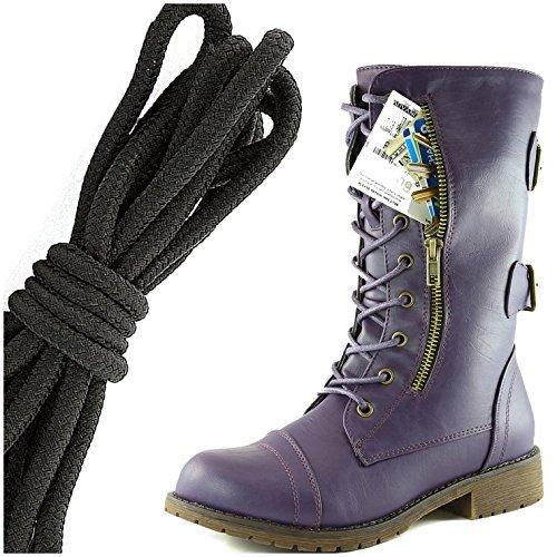 6bdfe9b62801b Dailyshoes Womens Militaire Lace Up Boucle Bottes De Combat Mi Genou Haute  Carte De Crédit Exclusive