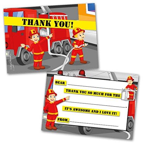 Thank You Cards | 10 Cards with Envelopes | Fireman Themed | Made for Kids | Flat Style | Colorful Design | Thank You Greeting Cards | Kids Thank You Cards | Children Thank You Cards