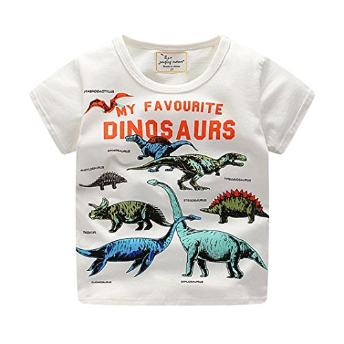 Clearance Sale Toddler Kids Baby Boys Clothes Cute Cartoon Short Sleeve Dinosaur Print T-Shirt Tops Blouse (White, 3T)