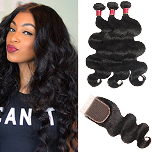 10 inch Human Hair Bundles with Closure Free Part Lace Closure Light Bleached Knots Unprocessed Virgin Hair Extensions 50g/pc 4 pcs/lot Natural Color Full Head Brazilian Body Wave ()