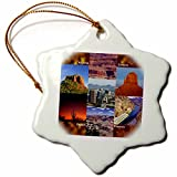 3dRose Arizona Landscape Collage Snowflake Porcelain Ornament, 3-Inch