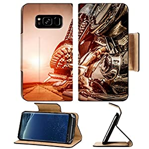 Liili Premium Samsung Galaxy S8 Plus Flip Pu Leather Wallet Case IMAGE ID 32728942 Biker girl riding on a motorcycle Bottom view of the legs in leather boots