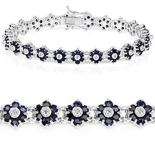 Universal Jewels Bracelet 925 Sterling Silver 6.31 ct Blue Sapphire Diamond Round 7.25 inches