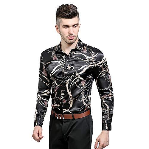 (Men's Long Sleeve Luxury Design Classic Buttoned Collar Print Dress Shirt)