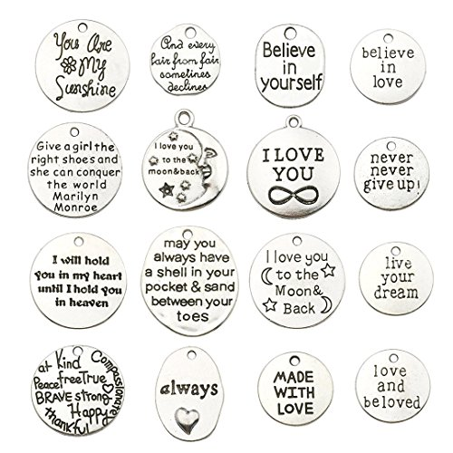- 32 PCS Inspiration Word Charms Collection - Antique Silver Round Oval Letter Text I LOVE YOU Infinite MADE WITH LOVE Metal Pendants for Jewelry Making DIY Findings (HM33)