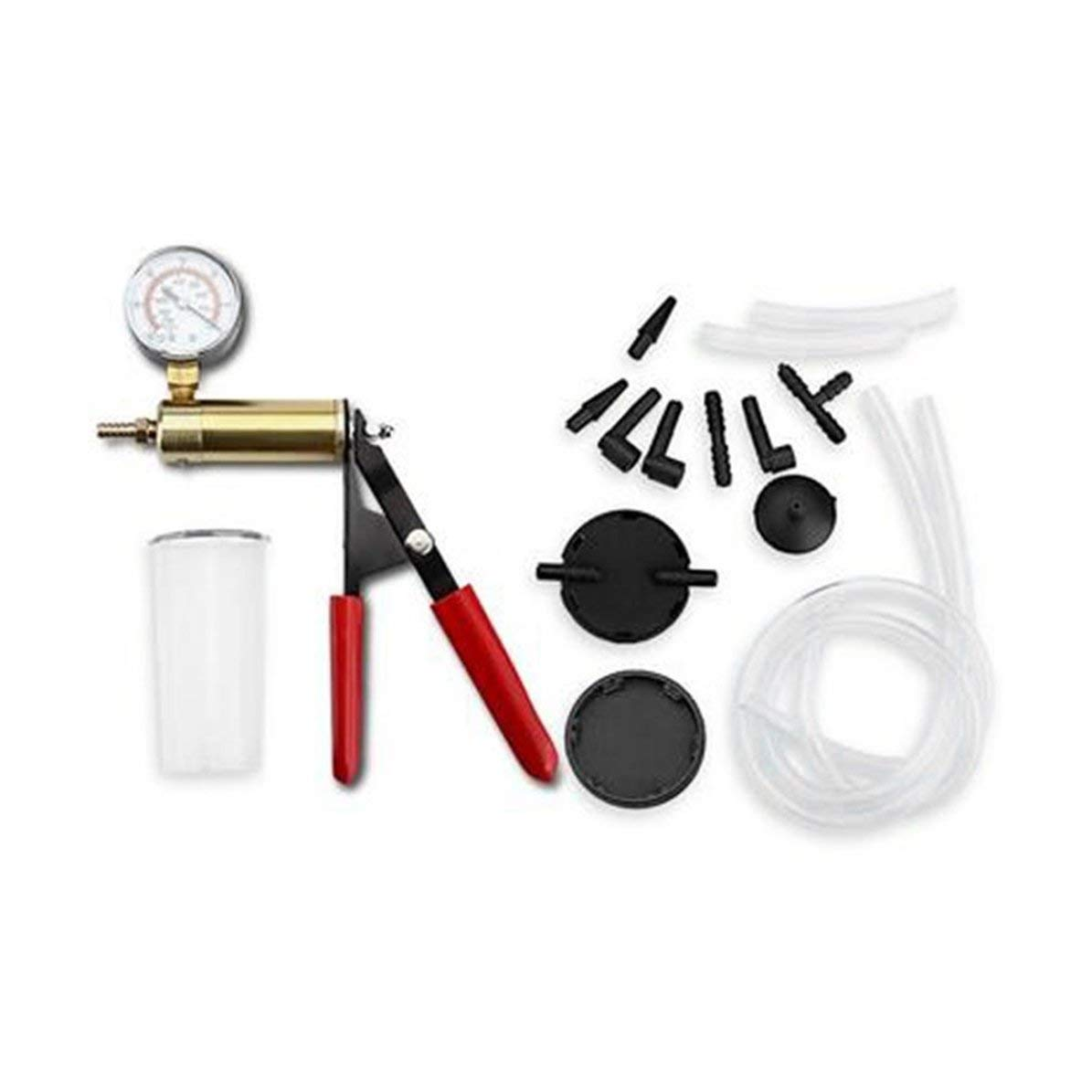 Set di Tester per Pompa a Vuoto Manuale e Kit di spurgo del Freno Adattatore per Vite per Pompa a Vuoto per Auto per Moto con misuratore di Vuoto Rosso WEIWEITOE
