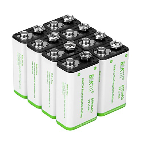 BAKTH 9V Advanced NiMH Battery 9 Volt 280mAh High Performance Low Self-Discharge Rechargeable Batteries (8 Pack)