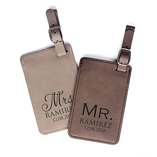 Personalized Mr. & Mrs. Luggage Tags - Personalized Vegan Leather Mr. Mrs. Wedding Gift Luggage Tag with Names (Light Brown & Dark Brown)
