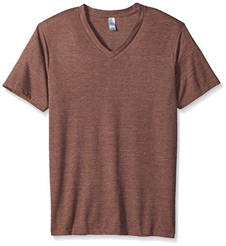 - Alternative Men's Boss V-Neck T-Shirt, Desert Rock Olive Dye Seaside Stripe, M