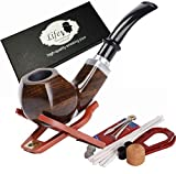 Ebony Wooden Tobacco Pipe Smoking Pipe with Accessories and Gift Package