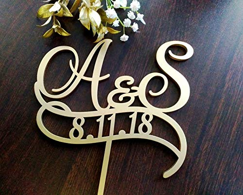 Personalised Two Initials With Date Cake Toppers For Wedding Date Two Letters Cake Topper Rustic Monogram Gold Initial Cake Topper S Letter Elegant and Romantic Customized -