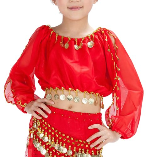[BellyLady Kid Tribal Belly Dance Costume, Harem Pants & Top Set For Christmas RED-S] (Cute Costumes For Dance)