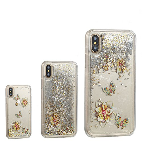 iPhone XS Case,iPhone X Case, UZER Cute Fashion Creative Shockproof Bling Quicksand Moving Flowing Floating Luxury Twinkle Glitter Shining Sparkle PC Hard TPU Bumper Liquid Case for iPhone XS/iPhone X