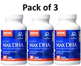 Jarrow Formulas Max DHA , Supports Brain and Eye Health, 180 Softgels (Pack of 3)