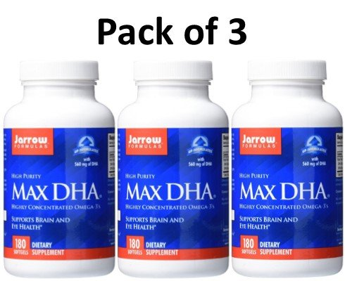 Jarrow Formulas Max DHA , Supports Brain and Eye Health, 180 Softgels (Pack of 3) by Jarrow