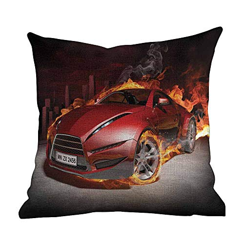 (Matt Flowe Cover Pillow Case,Cars,Red Sports Car Burnout Tires in Flames Blazing Engine Hot Fire Smoke Automobile,Red Black Orange,Apply to Chair Couch bed22 x22)