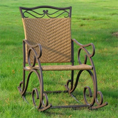 Resin Patio Rocker, Premium Hand-Woven Resin Wicker and Sturdy Powder Coated Iron Frame Construction, All-Weather Resistant Protective Finish, High Back for Maximum Comfort, Honey Pecan Finish (Rocker Wicker Resin Back High)
