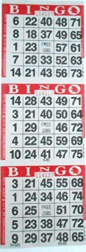 3 on Red Bingo Paper Cards - 1000 sheets - 3000 cards