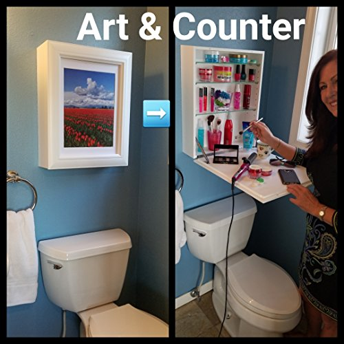 ART to COUNTER - On The Today Show (1) Instant Counter-Top (2) Hidden Storage (3) Easy to Change Art. USES: Cosmetics, Medicine Cabinet, Spices, Office Supplies. Clear Clutter - Space Saver. White by Flip Frame