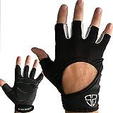Steel Sweat CrossFit Gloves - Best WoD Cross Training, Cycling, Gym & Fitness Workouts Men Women - ARMIN Black Large