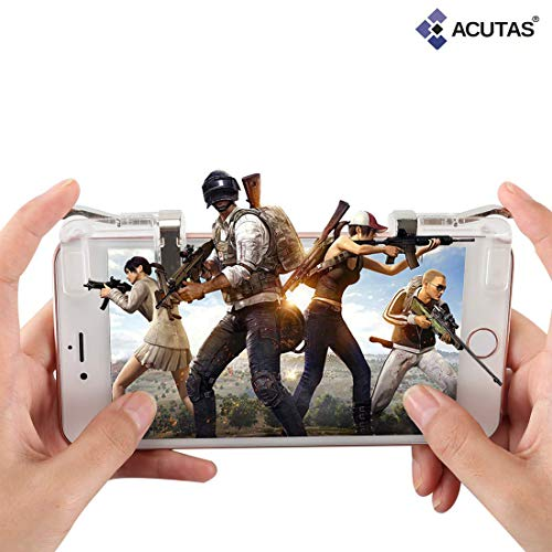 ACUTAS PUBG Shooter Controller Smartphone Mobile Gaming Trigger Fire Button Handle L1R1 (Clear)