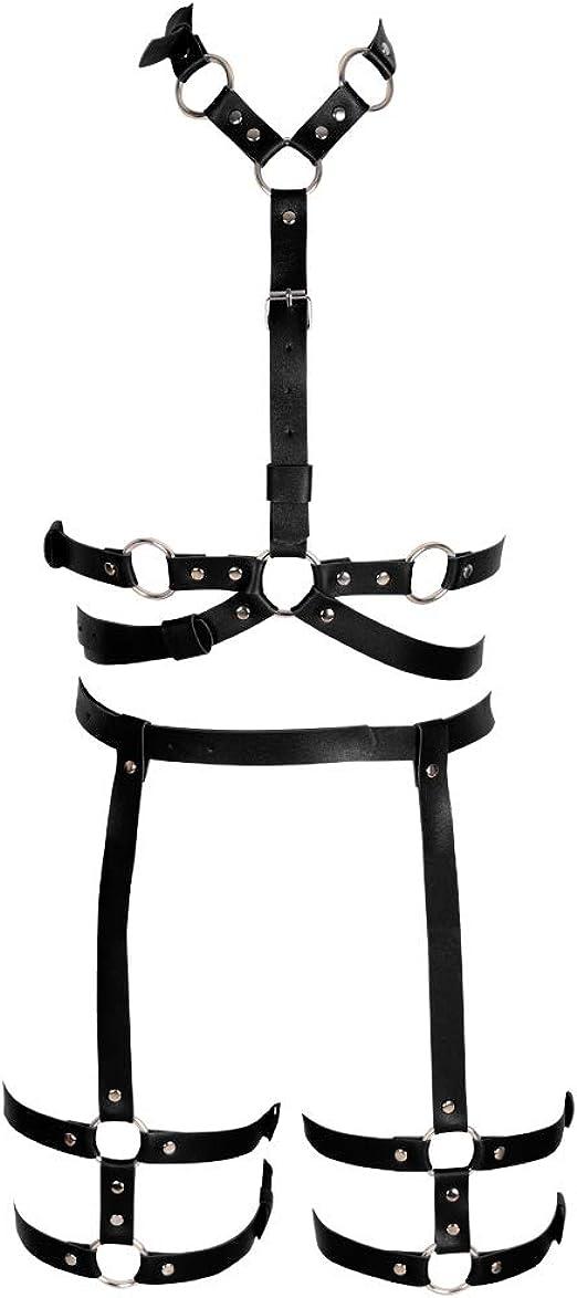 NUOBESTY Halloween Leather Bra Body Harness Metal Chain Bra Punk Cage Waist Belt Black Free Size