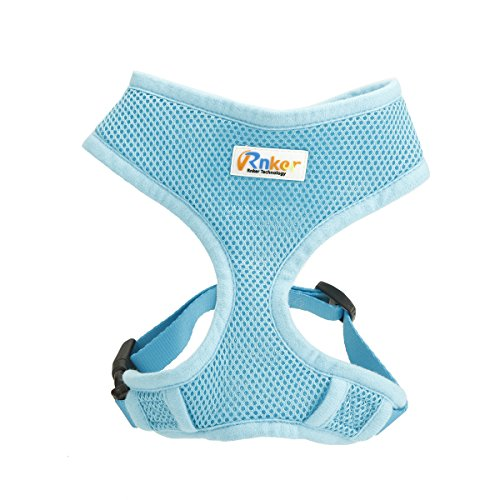 Rnker Soft Mesh Dog Harnesses Padded Vest No Pull Comfort Double Layer Harness for Pet Puppy (Blue XS)