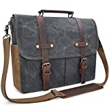 vintage bags - Mens Messenger Bag 15.6 Inch Waterproof Vintage Genuine Leather Waxed Canvas Briefcase Large Satchel Shoulder Bag Rugged Leather Computer Laptop Bag, Grey