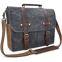 Mens Messenger Bag 15.6 Inch Waterproof Vintage Genuine Leather Waxed Canvas Briefcase Large Satchel Shoulder Bag Rugged Leather Computer Laptop Bag, Grey