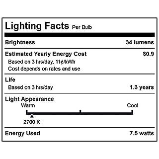 25 Pack 7.5 Watt S11 Medium Base 130 Volt 2500 Hour Ceramic White Sign or Indicator Lightbulb