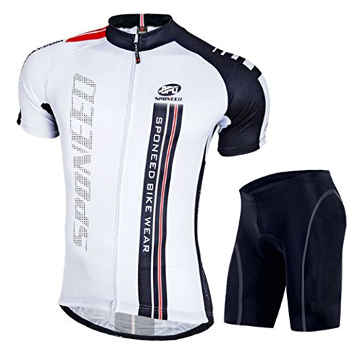(sponeed Biking Jersey and Shorts Set for Men Bicycles Clothing Short Sleeve with Padding Asia XL/US L White Black)