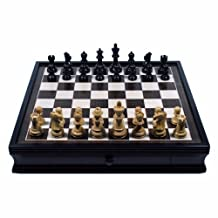 WE Games Grand English Style Chess Set with Storage Drawers - Pieces are Tournament Sized and Hand Carved with Black Stained Wood Board 19 in.