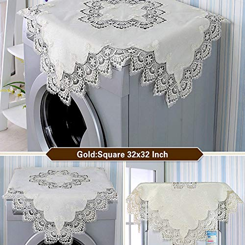 YFCH 42x42 Inch Square Tablecloth - Lace Satin Spillproof Tablecloth Suitable for Wedding/Restaurant/Party/Tea/Coffee/Picnic/Christmas Table Cloth - Gold Tablecloth